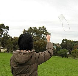 Kite Blog - my wife May flying a clear plastic 1-Skewer Sled kite.