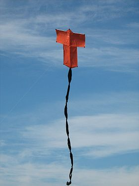Kite Blog - the original 2-Skewer Sode kite in flight.