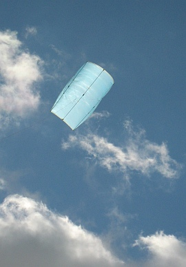 The Multi-Dowel Sled kite in flight.
