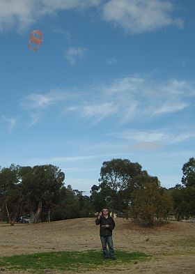 Tim flying a small Dopero kite.