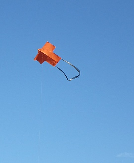 2 Skewer Sode kite in flight.