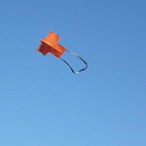 The MBK 2-Skewer Sode kite in flight.