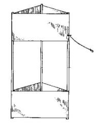 Diagram of a 2-cell triangular box kite, showing bridle attachment point.