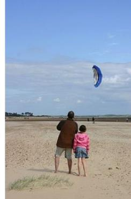A 'soft' dual line stunt kite being flown on a beach.