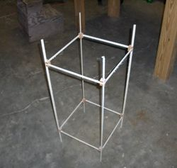 The complete box kite frame, using corner blocks to give rigidity.