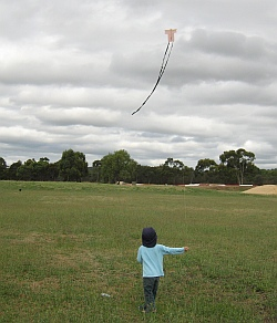 'Lets go fly a kite' - boy flying a small Sode.