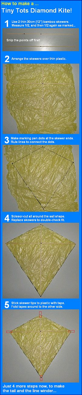Steps 1 to 5 for making the MBK Tiny Tots Diamond kite.