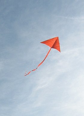 A Delta wing kite can be a very simple home-made effort, like this one.
