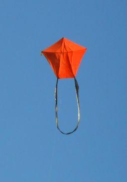 The MBK 3-Skewer A-Frame kite in flight.
