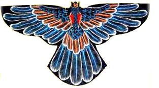 An ornate bird kite from Bali, in blue and orange, on a black sail.