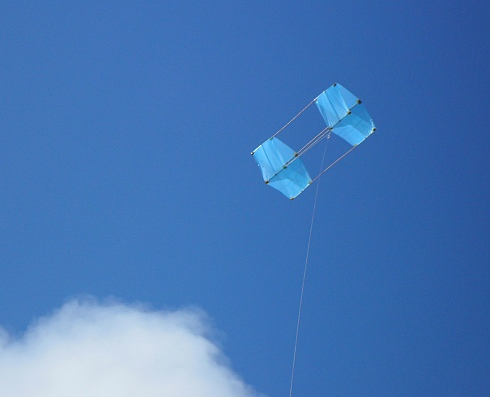 The MBK Dowel Box kite. This is the fresh wind version in flight.