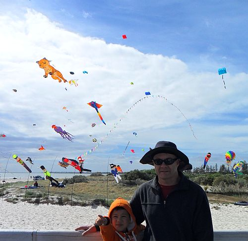 Adelaide Kite Festival 2012 - Tim and Aren on the jetty