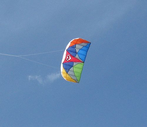 Colorful single-line parafoil seen from directly below.