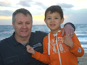 Tim and Aren at Seacliff Beach, South Australia.