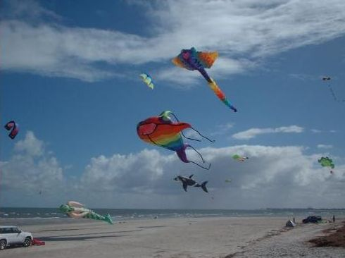 Large inflatables hovering over the sand at Semaphore