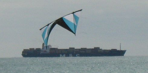 A blue and black stunt quad kite.