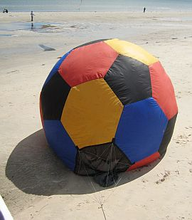 Inflatable sphere with hexagonal and pentagonal patches.