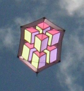 Big Rokkaku kite with 3D illusion design.