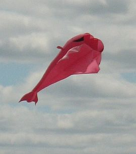 Inflatable kite - a large pink fish.