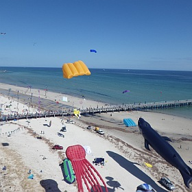 Looking South along Semaphore Beach during the first day of the Adelaide Kite Festival 2015