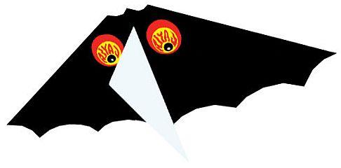 A Baby Bat Kite close-up, showing blood-shot eyes and keel.