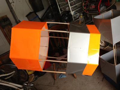 Balsa and Mylar hexagonal box kite