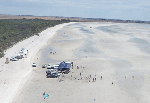 Air to ground shot of the Sandbar Golf Classic and family Fun Day.