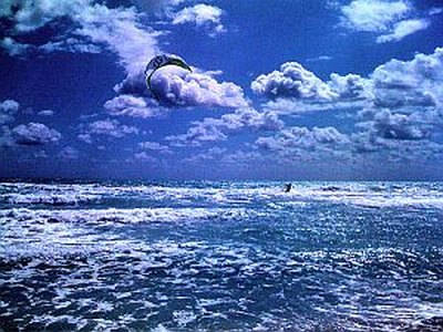 Beach Kites - amazing study in shades of blue.