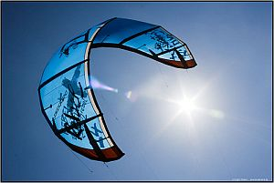 Amazing image of a translucent blue LEI kite.