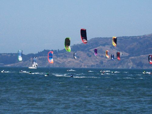 The start of a kite racing event perhaps.