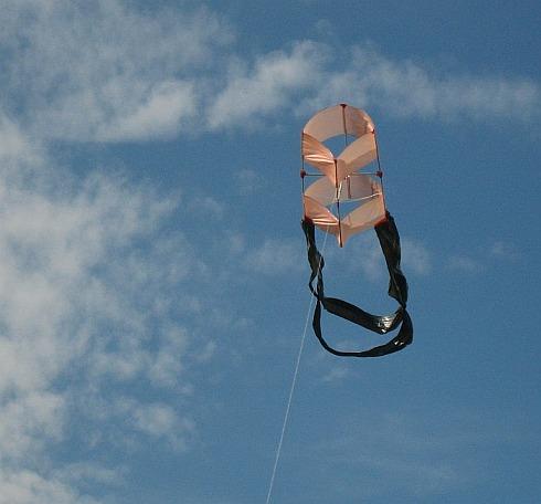 The 1-Skewer Box kite in flight.