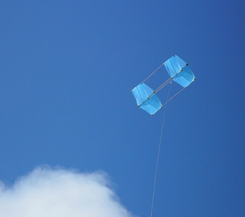 The MBK Fresh Wind Box kite in flight.