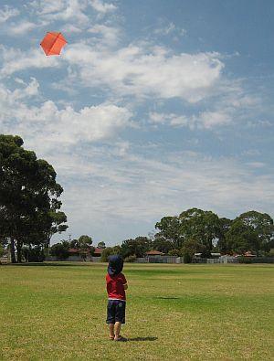 Child Flying Kite - Aren flying the 2-Skewer Rokkaku.