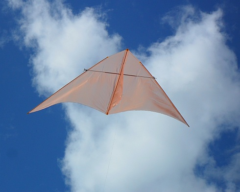 The Dowel Delta kite in flight.