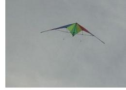In the air! After a few false starts. With line tension equal, the kite will fly itself straight up.