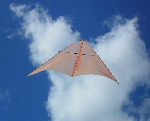 The MBK Dowel Delta kite in flight.