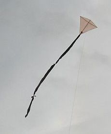 An MBK diamond shape kite made from 2 skewers and light plastic - the latest version