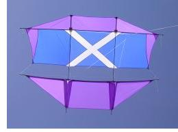 This big Dopero kite, featuring the Scottish flag, is used for Kite Aerial Photography