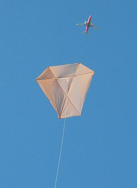 The MBK Dowel Barn Door kite in flight.