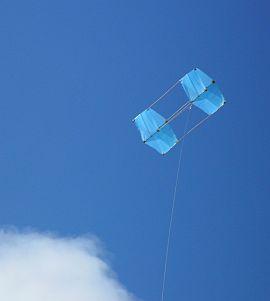 The MBK Fresh Wind Dowel Box kite in flight.