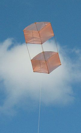 The Dowel Box kite (moderate wind version) in flight.