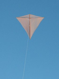 The Dowel Diamond kite in flight.