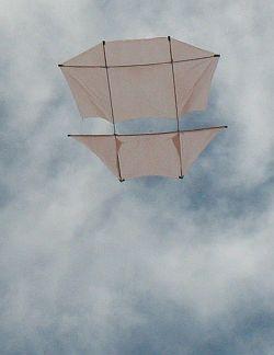 Dowel Dopero kite in flight.