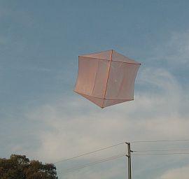 The MBK Dowel Rokkaku kite in flight.