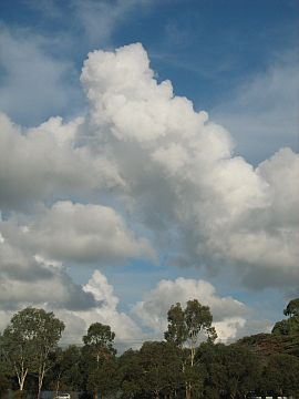 Dowel Rokkaku Kite -cumulus clouds