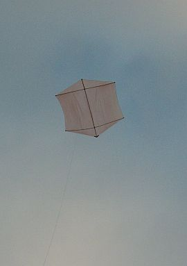 The Dowel Rokkaku kite in flight.