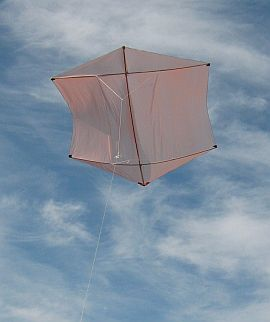 The MBK Dowel Rokkaku kite in flight.