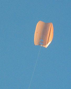The Dowel Sled kite in flight.