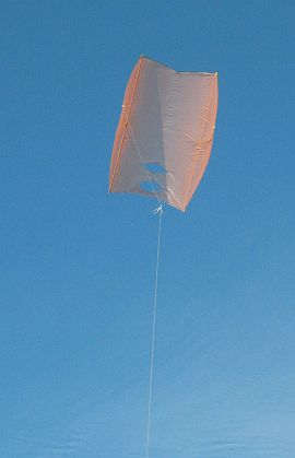 The Dowel Sled kite in flight.