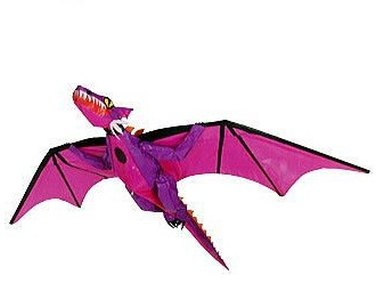 Shrek 2 3D dragon kite, with inflatable body, in purple and pink.